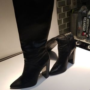 RENVY Black Tall Leather Boots